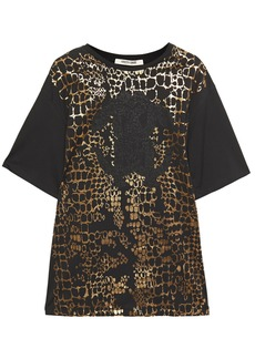 Roberto Cavalli Woman Metallic Printed Cotton-jersey T-shirt Black