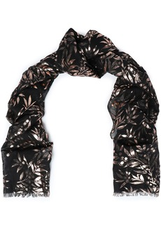 Roberto Cavalli Woman Metallic Printed Modal And Silk-blend Scarf Black