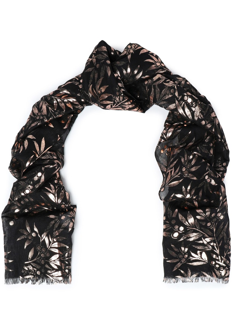 Roberto Cavalli Woman Metallic Printed Modal And Silk-blend Scarf Black