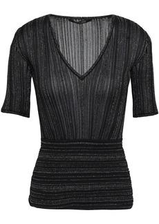 Roberto Cavalli Woman Metallic Ribbed-knit Top Black