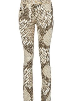 Roberto Cavalli Woman Metallic Snake-print Mid-rise Skinny-leg Jeans Animal Print
