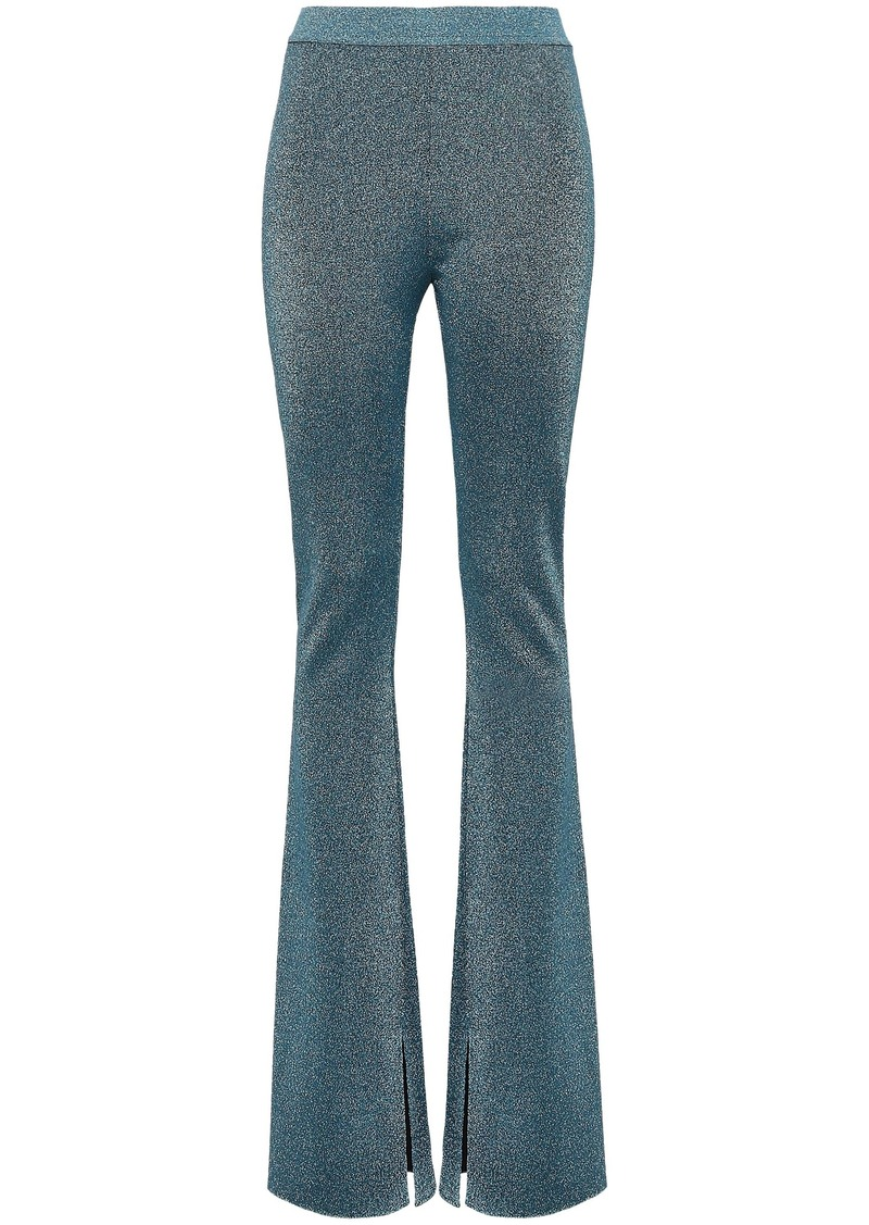 Roberto Cavalli Woman Metallic Stretch-knit Bootcut Pants Teal
