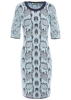 Roberto Cavalli Woman Metallic Wool-blend Jacquard Mini Dress Sky Blue