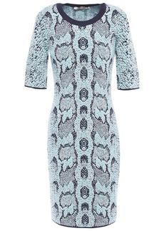 Roberto Cavalli Woman Metallic Wool-blend Jacquard Mini Dress Sky Blue