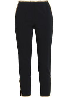 Roberto Cavalli Woman Metallic-trimmed Cotton-blend Twill Slim-leg Pants Black