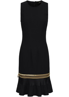 Roberto Cavalli Woman Metallic-trimmed Satin-paneled Stretch-crepe Dress Black