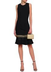 Roberto Cavalli Woman Metallic-trimmed Satin-paneled Stretch-crepe Dress Black