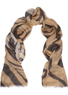 Roberto Cavalli Woman Metallic Zebra-print Modal-blend Scarf Sand