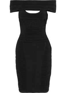 Roberto Cavalli Woman Off-the-shoulder Paneled Cutout Stretch-knit Dress Black