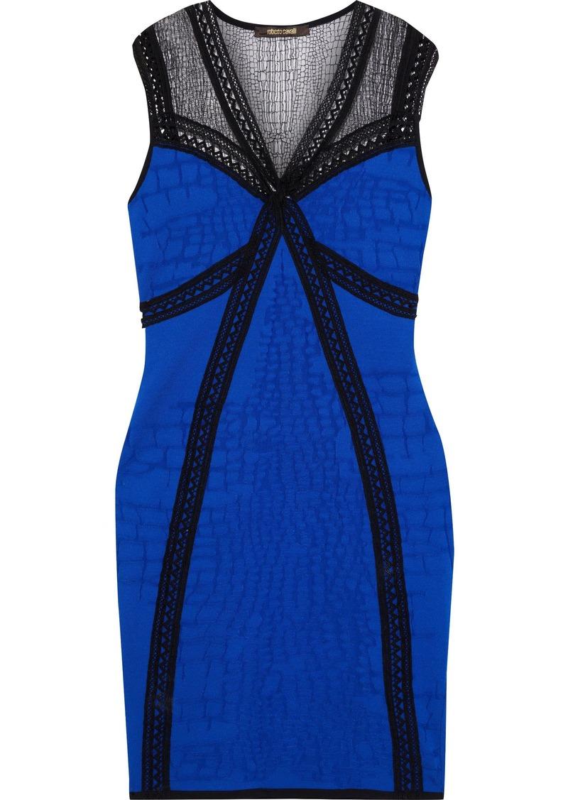 Roberto Cavalli Woman Lace-paneled Jacquard-knit Mini Dress Blue