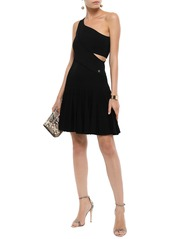 Roberto Cavalli Woman One-shoulder Cutout Ribbed-knit Mini Dress Black