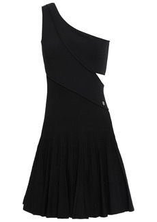 Roberto Cavalli Woman One-shoulder Cutout Ribbed-knit Mini Dress Black