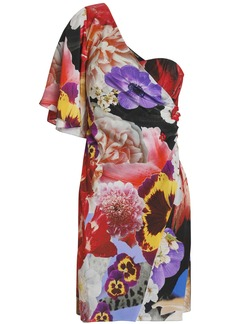 Roberto Cavalli Woman One-shoulder Embellished Floral-print Silk Crepe De Chine Mini Dress Multicolor