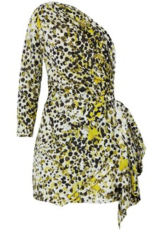 Roberto Cavalli Woman One-shoulder Printed Silk Mini Dress Chartreuse