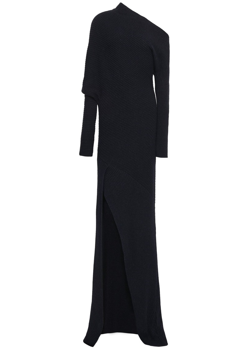 Roberto Cavalli Woman One-shoulder Ribbed Alpaca Silk And Cashmere-blend Gown Black
