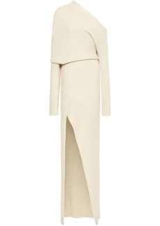 Roberto Cavalli Woman One-shoulder Ribbed Alpaca Silk And Cashmere-blend Gown Cream