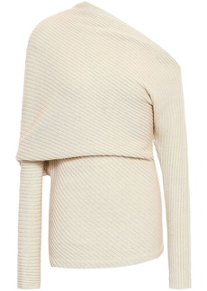 Roberto Cavalli Woman One-shoulder Ribbed Alpaca Silk And Cashmere-blend Sweater Ivory