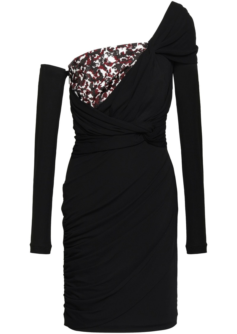 Roberto Cavalli Woman One-shoulder Sequined Crepe-paneled Stretch-jersey Mini Dress Black