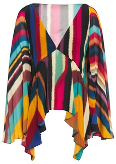 Roberto Cavalli Woman Open-back Draped Printed Silk-chiffon Top Multicolor