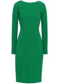 Roberto Cavalli Woman Open-back Faux Pearl-embellished Stretch-wool Dress Green