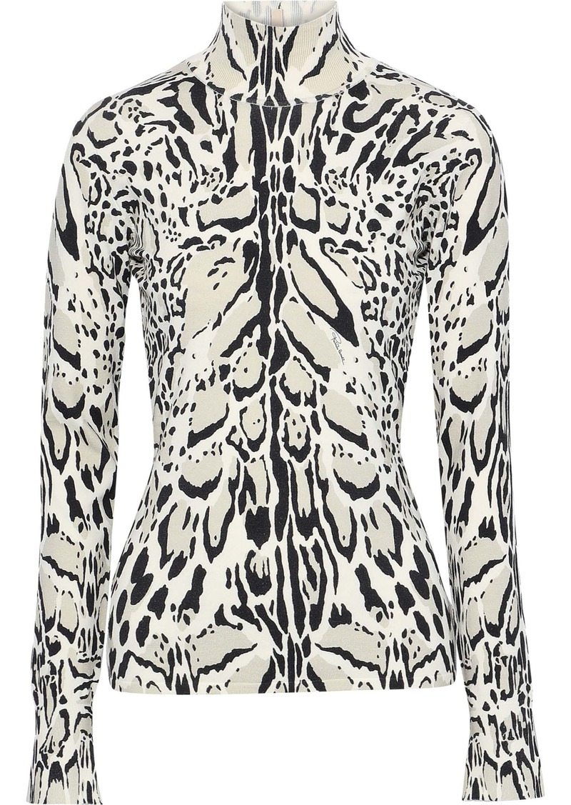 Roberto Cavalli Woman Open-back Leopard-print Wool Cashmere And Silk-blend Top Animal Print