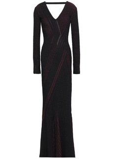 Roberto Cavalli Woman Open-back Metallic Ribbed-knit Gown Merlot
