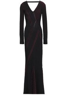 Roberto Cavalli Woman Open-back Metallic Ribbed-knit Gown Merlot