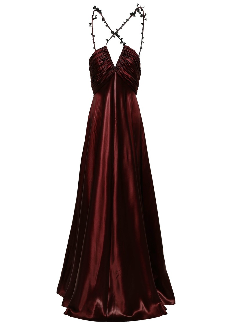 Roberto Cavalli Woman Open-back Sequin-embellished Ruched Satin Gown Burgundy
