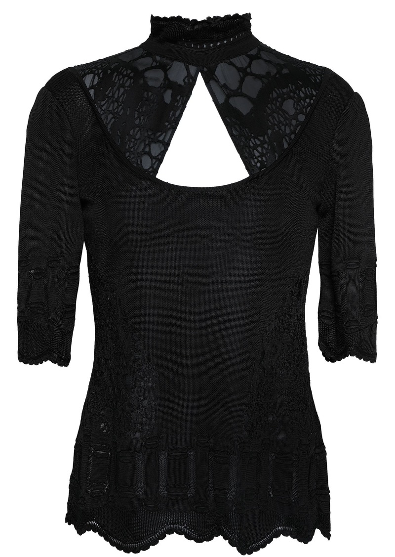 Roberto Cavalli Woman Paneled Cutout Knitted Top Black