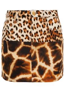 Roberto Cavalli Woman Paneled Leopard-print Denim Mini Skirt Animal Print
