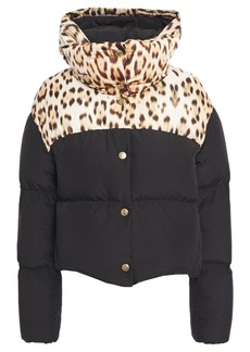 Roberto Cavalli Woman Paneled Leopard-print Quilted Shell Hooded Down Jacket Black