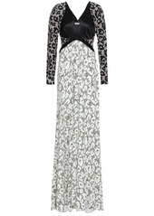 Roberto Cavalli Woman Paneled Leopard-print Satin And Stretch-jersey Gown Black