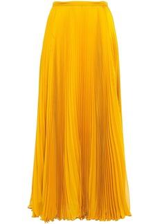 Roberto Cavalli Woman Paneled Plissé Georgette And Satin-crepe Maxi Skirt Saffron