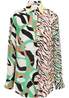 Roberto Cavalli Woman Paneled Printed Silk Shirt Off-white