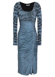 Roberto Cavalli Woman Paneled Ruched Crocodile-print Stretch-jersey Dress Azure