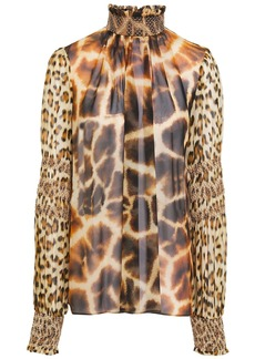 Roberto Cavalli Woman Paneled Shirred Printed Silk-chiffon Blouse Animal Print