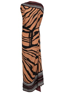 Roberto Cavalli Woman Paneled Stretch-knit And Zebra-print Silk-crepe Maxi Dress Light Brown