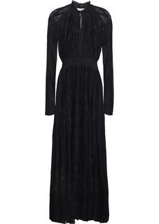 Roberto Cavalli Woman Pleated Crochet-knit Maxi Dress Black
