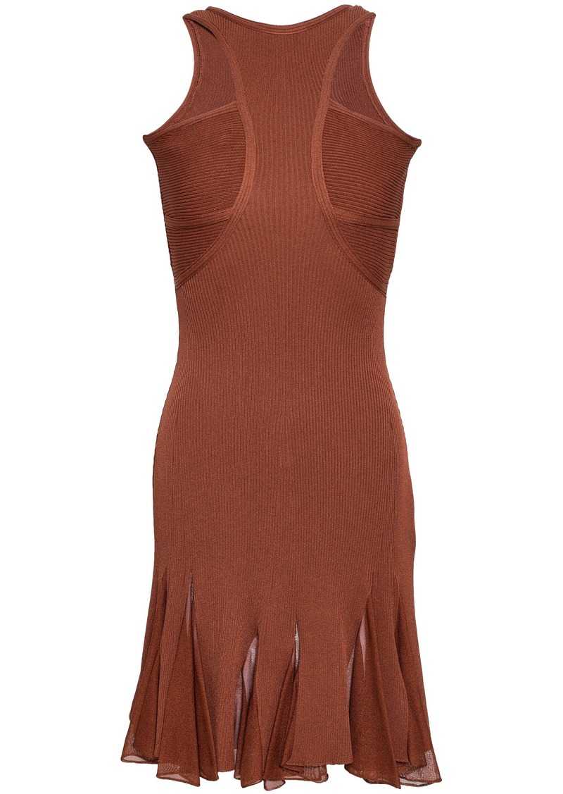 Roberto Cavalli Woman Pleated Cutout Ribbed-knit Mini Dress Brown