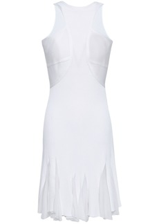 Roberto Cavalli Woman Pleated Cutout Ribbed-knit Mini Dress White