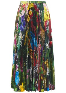 Roberto Cavalli Woman Pleated Floral-print Twill Midi Skirt Leaf Green