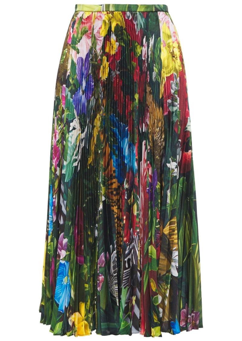 Roberto Cavalli Woman Pleated Floral-print Twill Midi Skirt Leaf Green