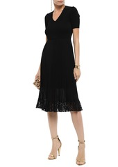 Roberto Cavalli Woman Pleated Lace-trimmed Ribbed-knit Dress Black