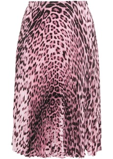 Roberto Cavalli Woman Pleated Leopard-print Twill Skirt Animal Print