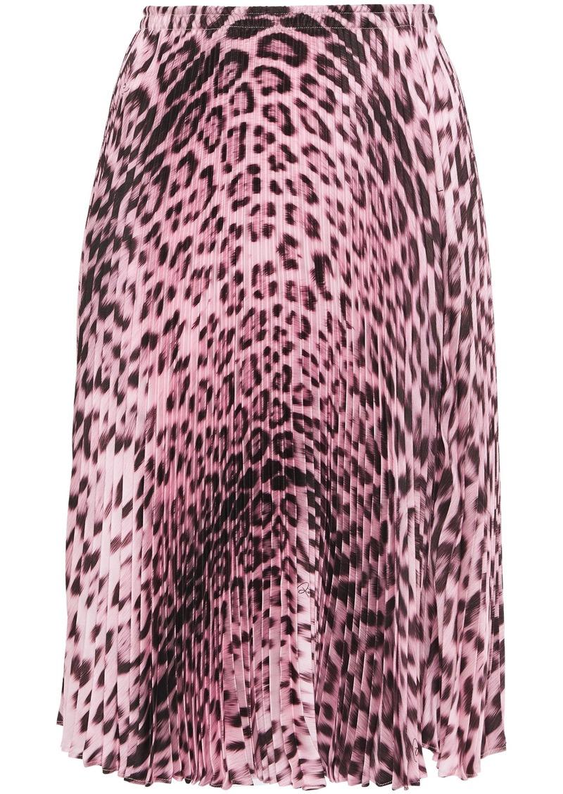 Roberto Cavalli Woman Pleated Leopard-print Twill Skirt Animal Print