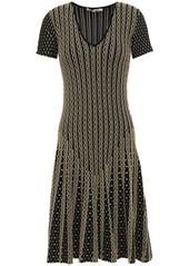 Roberto Cavalli Woman Pleated Metallic Jacquard-knit Dress Gold