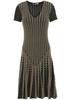Roberto Cavalli Woman Pleated Metallic Jacquard-knit Dress Gold