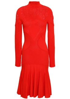 Roberto Cavalli Woman Pleated Pointelle-knit Dress Tomato Red