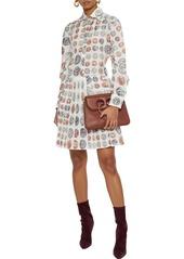 Roberto Cavalli Woman Pleated Printed Silk Mini Shirt Dress Ivory