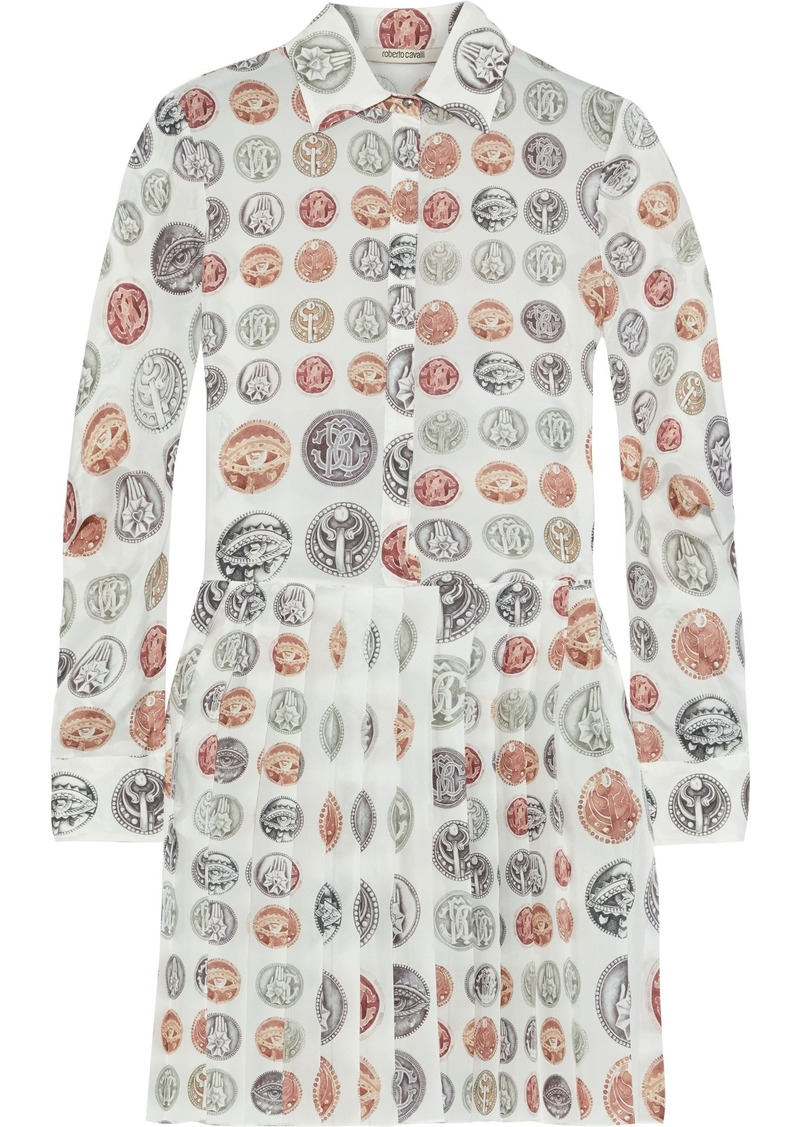 Roberto Cavalli Woman Pleated Printed Silk Mini Shirt Dress Ivory